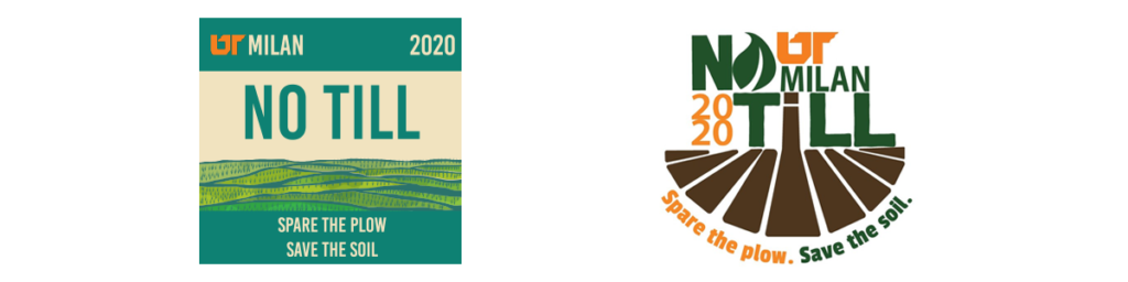 Milan No-Till Field Day 2020 logo and the graphic used for promotional hats